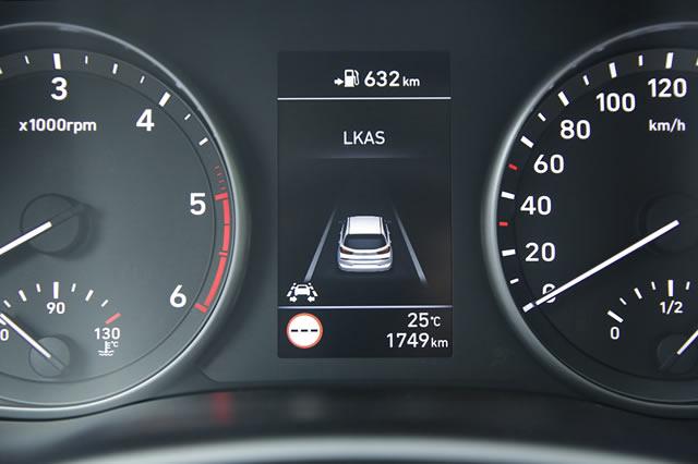 Der Spurhalteassistent warnt beim möglichen Verlassen der Spur optisch sowie akustisch und lenkt zur Not autonom gegen.